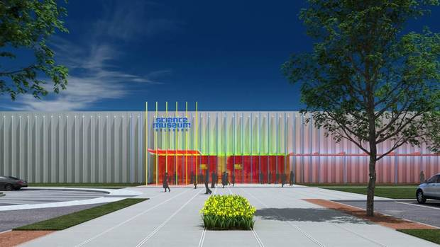Plans for the main entrance of the remodeled Science Museum Oklahoma would replace the building's concrete exterior with an off-white wall that incorporates light features. Image provided