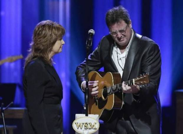 Vince Gill cries as he performs with Patty Loveless during the funeral for country music star George Jones in the Grand Ole Opry House on Thursday, May 2, 2013, in Nashville, Tenn. Jones, one of country music's biggest stars who had No. 1 hits in four separate decades, died April 26. (AP)