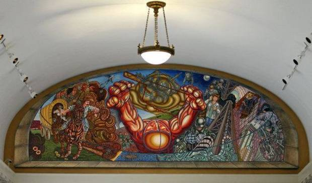 "The mural, ""Beyond the Centennial,"" by Carlos Tello is creating controversy at the Capitol. <strong>CHRIS LANDSBERGER - THE OKLAHOMAN</strong>"