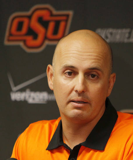 Josh Holliday speaks during a press conference at Oklahoma State University to introduce Josh Holliday as OSU's new head baseball coach, in Stillwater, Okla., Friday, June 8, 2012. Photo by Nate Billings, The Oklahoman