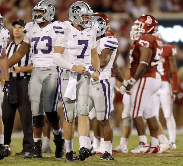 Kansas State's Collin Klein (7) reacts as the clock runs out during a college football game between the University of Oklahoma Sooners (OU) and the Kansas State University Wildcats (KSU) at Gaylord Family-Oklahoma Memorial Stadium, Saturday, September 22, 2012. Oklahoma lost 24-19. Photo by Bryan Terry, The Oklahoman