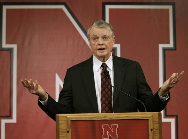 University of Nebraska interim Athletic Director Tom Osborne announces the firing of college football coach Bill Callahan, at a news conference, in Lincoln, Neb., Saturday, Nov. 24, 2007. Osborne announced the dismissal one day after the Cornhuskers ended the season at 5-7 following a 65-51 loss at University of  Colorado. They squandered an 11-point halftime lead by allowing 34 consecutive points. (AP Photo/Nati Harnik) ORG XMIT: NENH102