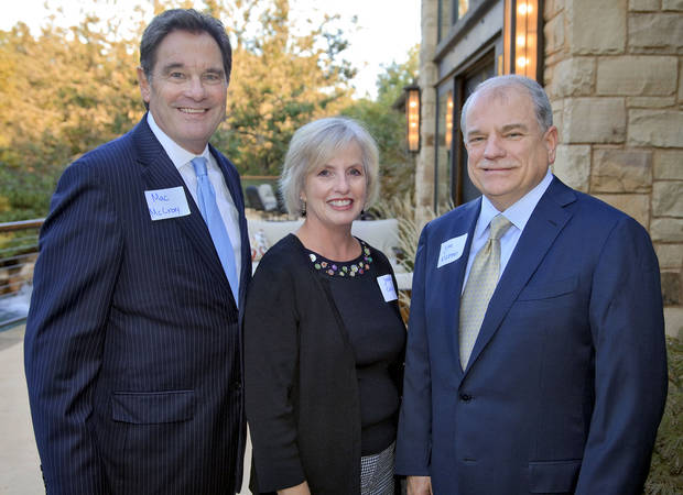 Mac McCrory, Jeanie Caldwell and Jim Klepper, from left, at the Oklahoma Humane Society Donors and Patrons Party at the home of Tom and Lisa Price on Wednesday, Oct. 3, 2012, in Arcadia, Okla.   Photo by Chris Landsberger, The Oklahoman