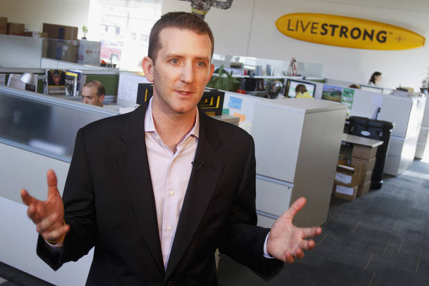 FILE - In this Oct. 127, 2012 file photo, Livestrong Foundation CEO and president Doug Ulman discusses the future of the organization in Austin, Texas. On Thursday, Feb. 28, 2013 in Chicago, Ulman is scheduled to deliver what the organization describes as a &quot;major &quot;State of the Foundation&quot; speech. He says the organization founded by Lance Armstrong will persevere in the wake of the cyclist&#039;s admission that he used performance-enhancing drugs. (AP Photo/Jack Plunkett, File)