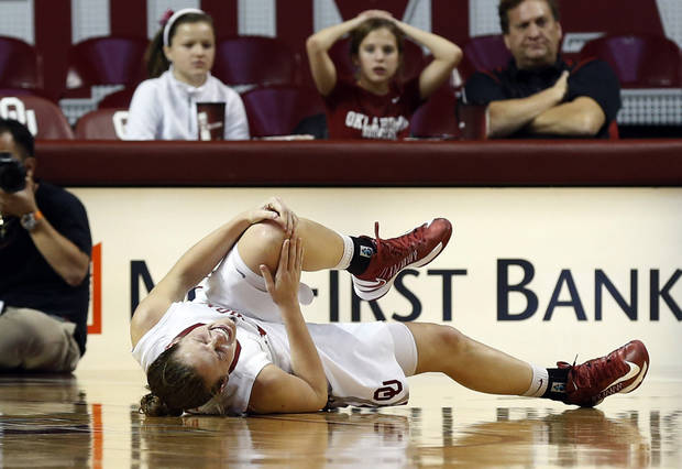 Whitney Hand falls to the floor in pain before leaving the game as the University of Oklahoma Sooners (OU) play the North Texas Mean Green in NCAA, women's college basketball at The Lloyd Noble Center on Thursday, Dec. 6, 2012  in Norman, Okla. Photo by Steve Sisney, The Oklahoman