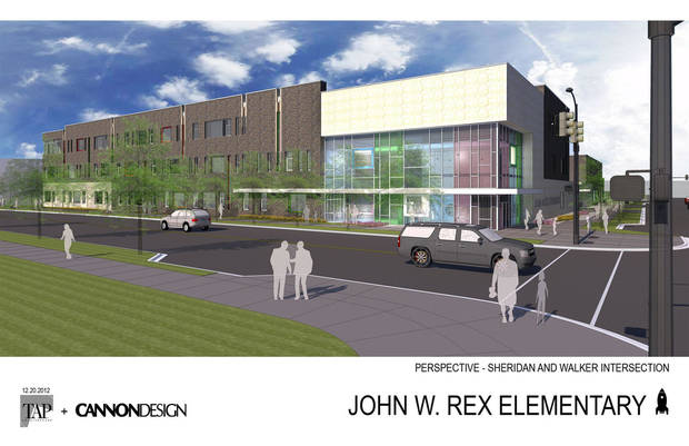Revised designs for the future downtown elementary school are shown in this drawing. Drawing provided by TAP Architecture