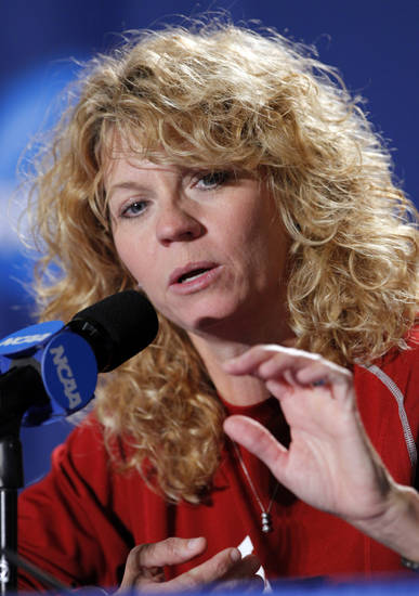 University of Oklahoma head coach Sherri Coale speaks to the media before the Sooners elite eight appearance in NCAA women's basketball tournament at the Ford Center in Oklahoma City, Okla. on Monday, March 30, 2009. 