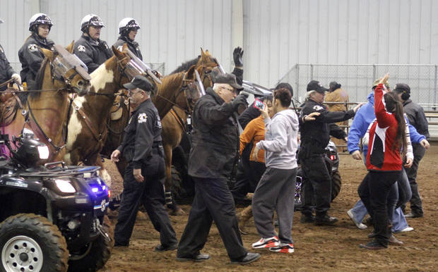 Oklahoma County Deputies and their horses receive training in crowd control at the State Fair Park in Oklahoma City, OK, Saturday, March 2, 2013,  By Paul Hellstern, The Oklahoman