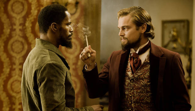 "Jamie Foxx as Django, left, and Leonardo DiCaprio as Calvin Candle star in the film, ""Django Unchained."" WEINSTEIN COMPANY PHOTO <strong>Andrew Cooper, SMPSP</strong>"