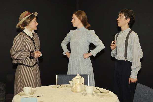 Haley Quinn as Rachel Lynde, Sarah Lemke as Marilla Cuthbert, and Dylan Carver as Matthew Cuthbert rehearse the play.  PHOTOS BY M. TIM BLAKE, FOR THE OKLAHOMAN