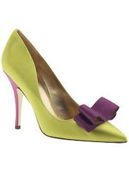 Kate spade lime satin and purple bow.