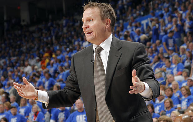 Coach Scott Brooks reacts to a call by the officials during Game 1 of the NBA Finals between the Oklahoma City Thunder and the Miami Heat at Chesapeake Energy Arena in Oklahoma City, Tuesday, June 12, 2012. Photo by Chris Landsberger, The Oklahoman