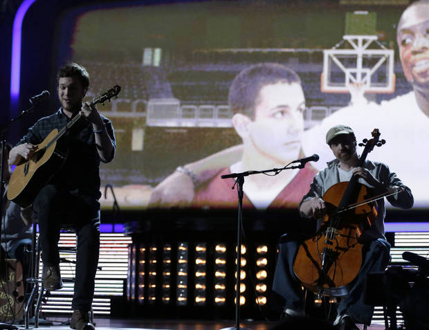 Phillip Phillips performs during NBA basketball All-Star Saturday Night, Feb. 16, 2013, in Houston. (AP Photo/Eric Gay)