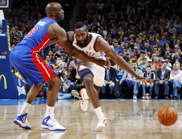 Detroit's Damien Wilkins (9) defends James Harden (13) of Oklahoma City during the NBA basketball game between the Detroit Pistons and Oklahoma City Thunder at the Chesapeake Energy Arena in Oklahoma City, Monday, Jan. 23, 2012. Oklahoma City won, 99-79. Photo by Nate Billings, The Oklahoman