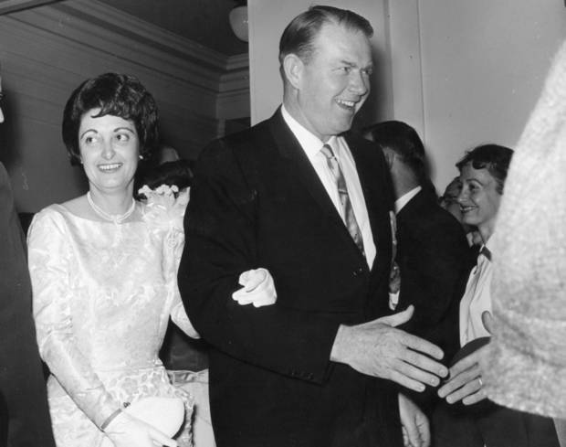 Gov Henry Bellmon and his wife Shirley at his inauguration party.  1/15/1963