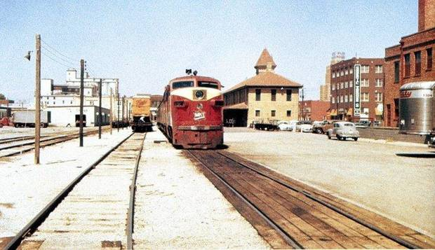 The Rock Island Plow Building can be seen to the right of the now vanished MKT Train Depot in this vintage mid-20th century photo (courtesy of the Oklahoma Railway Museum)