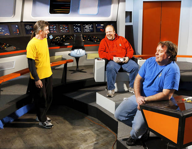 Local filmmakers have re-created the bridge of the Starship Enterprise,  featured in the long-running television sci-fi series, Star Trek.  On the bridge are,  from left, Scott Johnson, Jim Bray and Richard Wells. Photograph taken Tuesday,  Jan. 29,  2013.    Photo by Jim Beckel, The Oklahoman