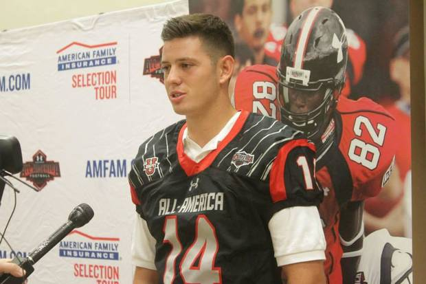 Norman North quarterback David Cornwell received his honorary game jersey for the Under Armour All-American game on Wednesday. Cornwell is one of 90 players selected to compete in game, which will be played at 3 p.m. Jan. 2 at Tropicana Field in St. Petersburg, Fla., and will be televised on ESPN (Cox 29).  Edmond Santa Fe's Justice Hansen was also chosen for the team. He will receive his jersey on Thursday. PHOTO PROVIDED