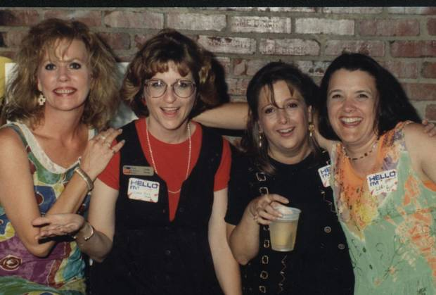 cutline: MCHS Class of 77 Reunion. From left, Cindy Manning Price, Linda Jones Payne, Kathy  Sherman Staton and Lori Brown Burris visit at the 20th reunion.<br/><b>Community Photo By:</b> Joe Groves<br/><b>Submitted By:</b> paula, edmond