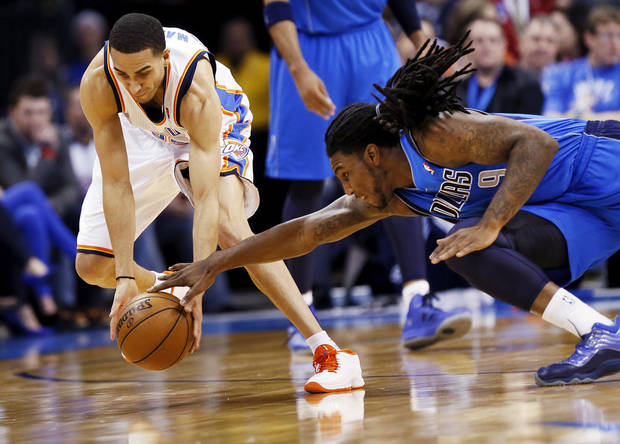 Oklahoma City&#039;s Kevin Martin (23) steals the ball from Dallas&#039; Jae Crowder (9) during an NBA basketball game between the Oklahoma City Thunder and the Dallas Mavericks at Chesapeake Energy Arena in Oklahoma City, Monday, Feb. 4, 2013. Photo by Nate Billings, The Oklahoman