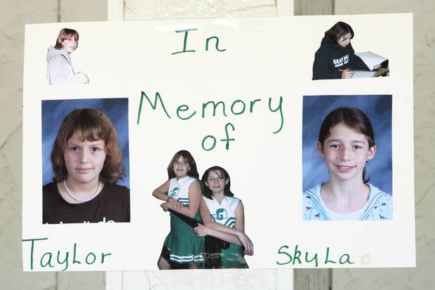 Sign at the fund-raiser to help the family of Taylor Paschal-Placker and Skyla Whitaker who were shot and killed last Sunday on the dirt road near one of their homes, Tuesday, June 10, 2008.  Photo by David McDaniel /The Oklahoman