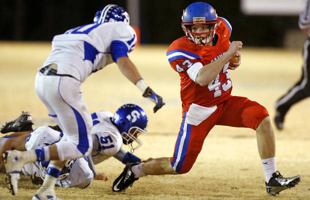 Oklahoma Christian School's Cameron James runs against Stroud during a high school football playoff game in Edmond, Friday, Nov. 23, 2012. Photo by Bryan Terry, The Oklahoman