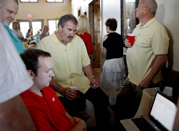 Oklahoma Senate District 41 candidate Paul Blair, R-Edmond, watches primary results in Edmond, Okla., Tuesday, June 26, 2012. Photo by Bryan Terry, The Oklahoman