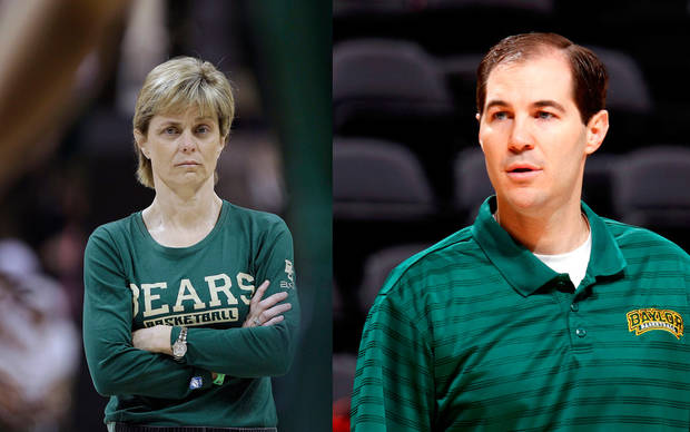 Baylor basketball's Kim Mulkey, left, and Scott Drew, right.