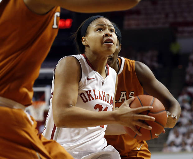 Oklahoma Sooners' Portia Durrett (31) drives to the basket for a shot as the University of Oklahoma Sooners (OU) play the University of Texas (UT) Longhorns in NCAA, women's college basketball at The Lloyd Noble Center on Saturday, Jan. 19, 2013 in Norman, Okla. Photo by Steve Sisney, The Oklahoman