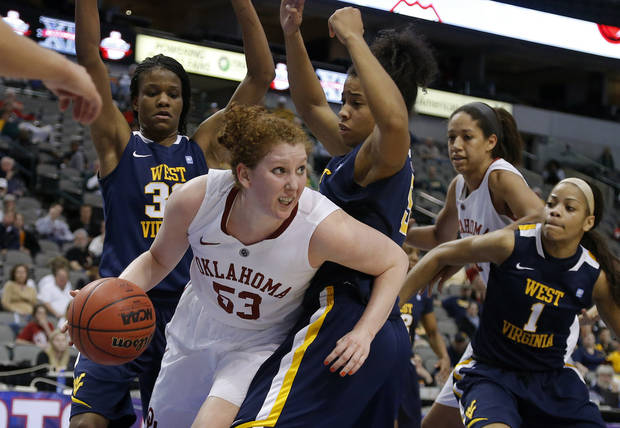 Oklahoma's Joanna McFarland (53) West Virginia's Crystal Leary (32) and West Virginia's Averee Fields (5) during the Big 12 tournament women's college basketball game between the University of Oklahoma and West Virginia at American Airlines Arena in Dallas, Saturday, March 9, 2012. Oklahoma won 65-64.  Photo by Bryan Terry, The Oklahoman