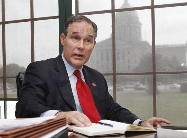 Oklahoma Attorney General Scott Pruitt speaks from his office in Oklahoma City, OK, Monday, September 17, 2012,  By Paul Hellstern, The Oklahoman Archives