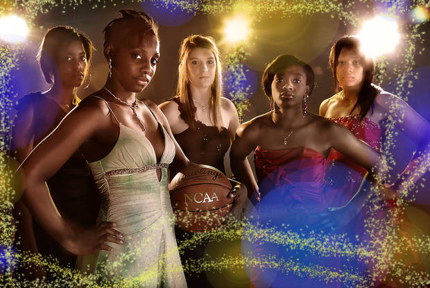 GIRLS HIGH SCHOOL BASKETBALL: DANCING WITH THE STARS SUPER 5 GIRLS Ashley Clark, Sharane Campbell, Liz Donohoe, Courtney Walker and Marisha Wallace, from left, on Tuesday, March 29, 2011, in Oklahoma City, Okla.  Photo by Chris Landsberger, The Oklahoman