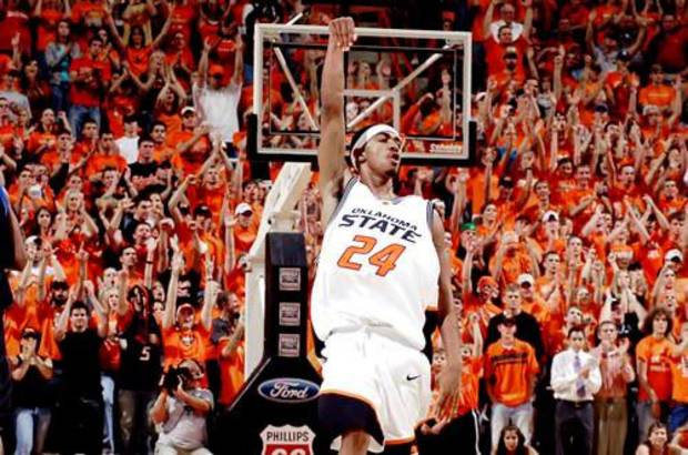 OSU's JamesOn Curry runs downcourt after hitting a three-pointer midway through the second half. Oklahoma State University vs Oklahoma City University at Gallagher-Iba Arena Tuesday, November 8, 2005, in Stillwater, Okla. BY MATT STRASEN, THE OKLAHOMAN