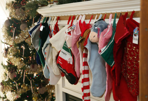 Christmas stockings hang at Green Acres, a residential care home in southwest Oklahoma City. <strong>NATE BILLINGS - The Oklahoman</strong>