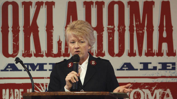 Salvation Army Maj. Francina Proctor speaks Wednesday on the fight against human trafficking in Oklahoma City. Photo By Steve Gooch, The Oklahoman