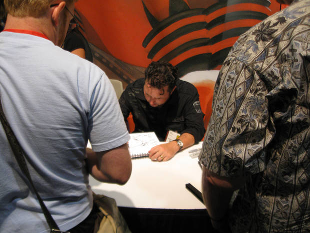 Darick Robertson sketches for a fan.