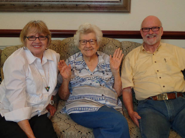 Alice M. Scott sits with her son and daughter-in-law, Marge and Harry Mason. Photo provided by Catlin Cairns