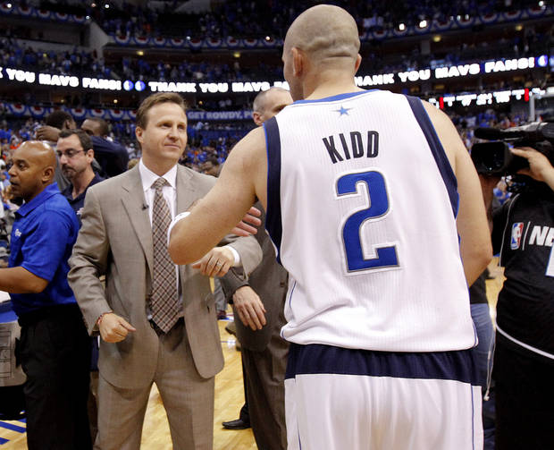 Oklahoma City coach Scott Brooks talks with Dallas' Jason Kidd (2) after Game 4 of the first round in the NBA playoffs between the Oklahoma City Thunder and the Dallas Mavericks at American Airlines Center in Dallas, Saturday, May 5, 2012. Oklahoma City won 103-97.  Photo by Bryan Terry, The Oklahoman