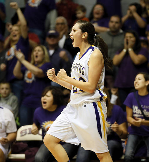 Anadarko's Lakota Beatty reacts after making a shot and being fouled during a Class 4A girls high school basketball game against Vinita in the first round of the state tournament at SNU's Sawyer Center. (Photo by Nate Billings, The Oklahoman)