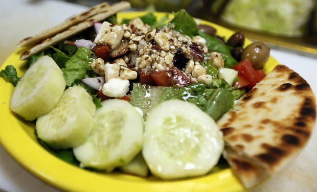 The side Greek salad at Simply Falafel, 343 S. Blackwelder, in Edmond. Photo by Nate Billings, The Oklahoman <strong>NATE BILLINGS - NATE BILLINGS</strong>