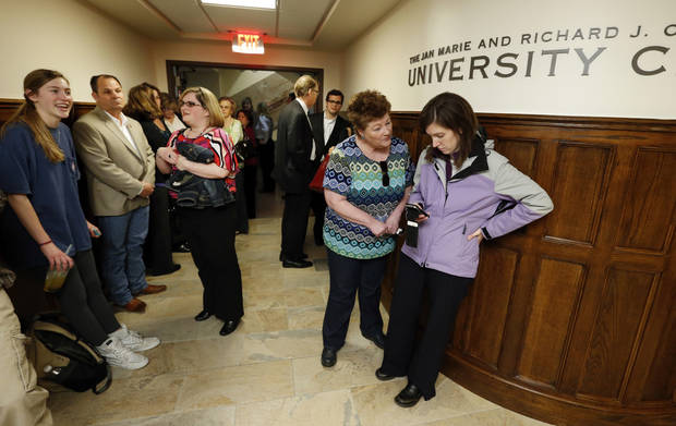 Guests wait to see the remodeled Crawford University Club in the Memorial Student Union of the University of Oklahoma (OU) on Tuesday, April 9, 2013 in Norman, Okla.  Photo by Steve Sisney, The Oklahoman