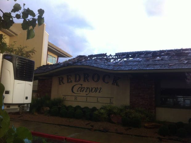 The roof of Redrock Canyon Grill after a fire Wednesday morning. Photo by Robert Medley