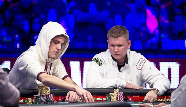 WSOP Champion Pius Heinz, left, and Oklahoma's Ben Lamb at the World Series of Poker Final Table in 2011.  Photo courtesy WSOP. <strong></strong>