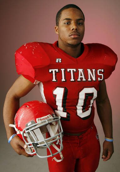 Joe Stoner, Carl Albert, poses for a photo in the OPUBCO studio for The Oklahoman's All-State Football Team, in Oklahoma City, Wednesday, Dec. 12, 2007. By Nate Billings, The Oklahoman