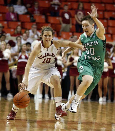 Oklahoma's Morgan Hook (10) brings the ball down court defended by North Texas' Hannah Christian (00) as the University of Oklahoma Sooners (OU) play the North Texas Mean Green in NCAA, women's college basketball at The Lloyd Noble Center on Thursday, Dec. 6, 2012  in Norman, Okla. Photo by Steve Sisney, The Oklahoman