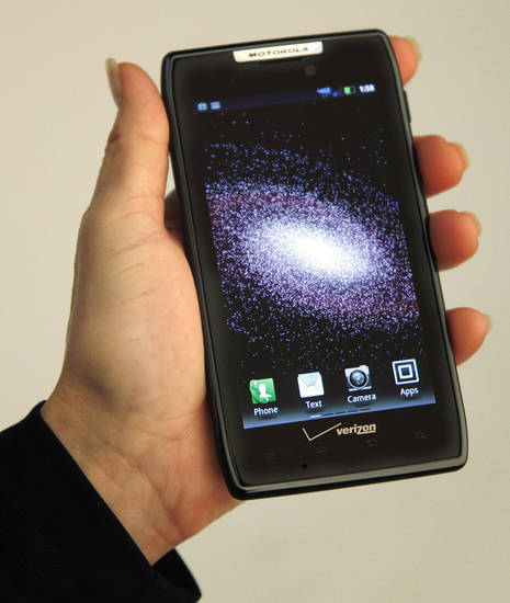 Motorola Droid Razr phone for Verizon in the OPUBCO studio Monday, November 14, 2011. Photo by Doug Hoke, The Oklahoman