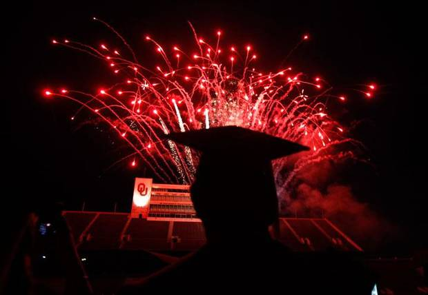 SEOND PLACE, MAY: Graduates watch fireworks following the 2009 University of Oklahoma Commencement at the Gaylord Family -- Oklahoma Memorial Stadium, Friday, May 15, 2009, in Norman, Okla. Photo by Sarah Phipps, The Oklahoman