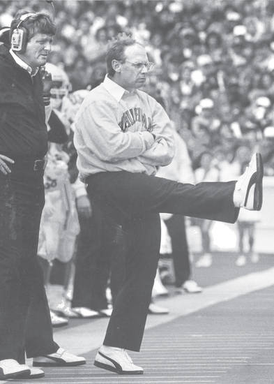 OSU head coach Pat Jones reacts after the Cowboys' defense blocks an extra point by OU's R.D. Lashar in the third quarter Saturday.  Staff Photo by Jim Argo   (Original photo taken 11/07/1987, published 11/09/1987)