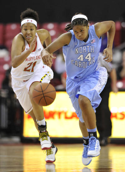 CORRECTS TO RUFFIN-PRATT NOT RUFFIN - North Carolina's Tierra Ruffin-Pratt, right, races downcourt on a turnover as Maryland's Tianna Hawkins pursues during the first half of an NCAA college basketball game on Thursday, Jan. 24, 2013, in College Park, Md. (AP Photo/Gail Burton).