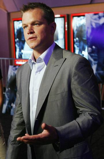 Actor Matt Damon gives an interview before the Oklahoma City premiere of &quot;The Bourne Ultimatum&quot;  at the Harkins Bricktown Theaters in Oklahoma City, Tuesday, July 31, 2007. Damon and producer Frank Marshall brought the film to benefit The Children&#039;s Center. By Nate Billings, The Oklahoman